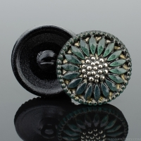 (18mm) Tourmaline Green Antiqued with Gold Paint