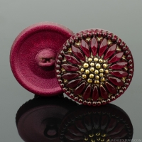 (18mm) Round Sunflower Red Antiqued with Gold Paint