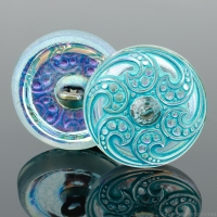 (18mm) Round Jewel Golden AB with Aqua Wash