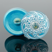 (18mm) Round Jewel Spiral Aqua Blue with Silver Wash