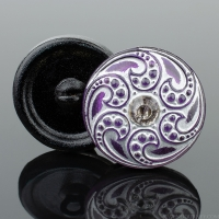 (18mm) Round Jewel Spiral Amethyst Purple with Silver Wash
