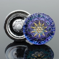 (18mm) Round Lacy Flower Tanzanite Purple and Blue with Gold Paint