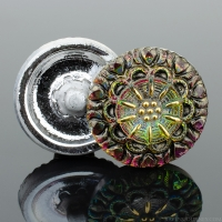 (18mm) Round Lacy Flower Pink and Green Iridescent Antiqued with Gold Paint