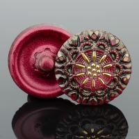 (18mm) Round Lacy Flower Red Antiqued with Gold Paint