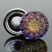(18mm) Round Lacy Flower Blue and Purple Iridescent with Gold Paint