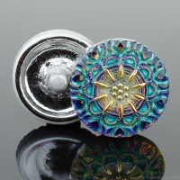 (18mm) Round Lacy Flower Tanzanite Purple and Blue with Turquoise Wash and Gold Paint