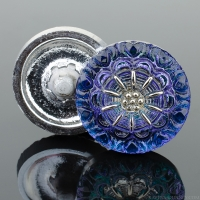 (18mm) Round Lacy Flower Tanzanite Purple and Blue with Platinum Paint