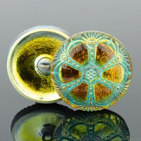 (27mm) Round Wheel Golden Orange with Turquoise Wash and Gold Paint