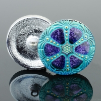 (27mm) Round Wheel Tanzanite Purple and Blue with Turquoise Wash and Gold Paint