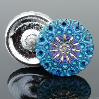 (27mm) Round Lacy Flower Electric Blue with Aqua Wash and Gold Paint
