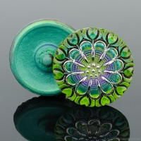 (27mm) Round Lacy Flower Green Two-Tone and Purple Antiqued with Platinum Paint