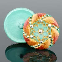 (32mm) Marcasite Flower Light Aqua Green Center with Red/Gold Edging and Platinum Paint