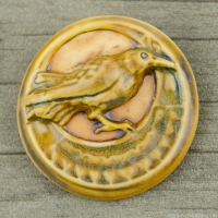 High Fired Porcelain Pendant Round with Raven on a Half Moon Design Golden Multi-Color Glaze over an Iron Wash