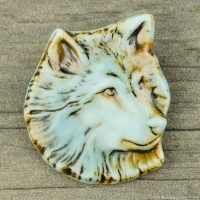 High Fired Porcelain Pendant Wolf Design Turquoise Glaze over Iron Wash