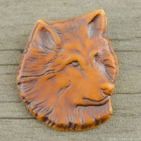 High Fired Porcelain Pendant Wolf Design Rust Brown Glaze over an Iron Wash