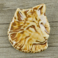 High Fired Porcelain Pendant Wolf Design Brown Glaze over an Iron Wash