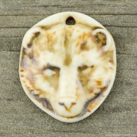 High Fired Porcelain Pendant Bear Design Ivory Glaze over a Brown Wash