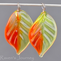 Lampwork Leaf (18mm) Green, Red, and Amber Mix