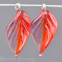 Lampwork Leaf (18mm) Amethyst and Ruby Red Mix