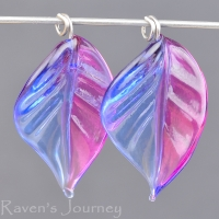 Lampwork Leaf (18mm) Sapphire Blue, Fuchsia, and Pink Mix