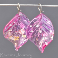 Lampwork Leaf (18mm) Hot Pink with Silver Foil