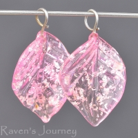 Lampwork Leaf (18mm) Tourmaline Pink (Light) with Silver Foil