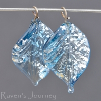 Lampwork Leaf (18mm) Montana Blue with Silver Foil