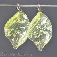 Lampwork Leaf (18mm) Vasoline Glass Yellow with Silver Foil
