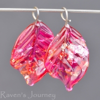 Lampwork Leaf (18mm) Tourmaline Pink with Silver Foil