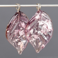 Lampwork Leaf (18mm) Amethyst with Silver Foil