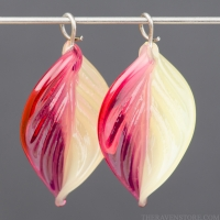 Lampwork Leaf (18mm) Tourmaline Pink and Yellow Opal