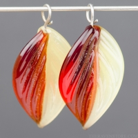 Lampwork Leaf (18mm) Ruby Red and Yellow Opal