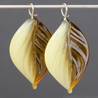 Lampwork Leaf (18mm) Topaz and Yellow Opal