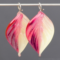 Lampwork Leaf (18mm) Hot Pink and Yellow Opal