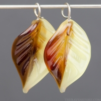 Lampwork Leaf (18mm) Garnet Red, Topaz, and Yellow Opal