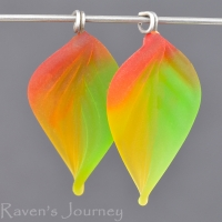 Lampwork Leaf (18mm) Green, Red, and Amber Mix Matte Finish