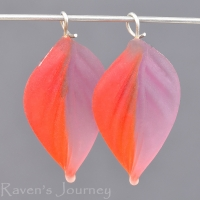Lampwork Leaf (18mm) Amethyst and Ruby Red Mix Matte Finish